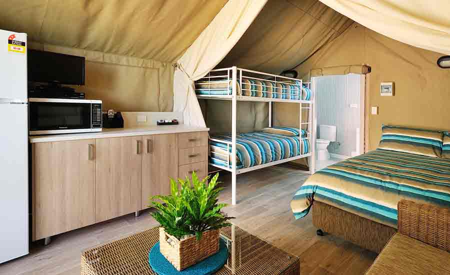 ensuite safari tent at caravan park