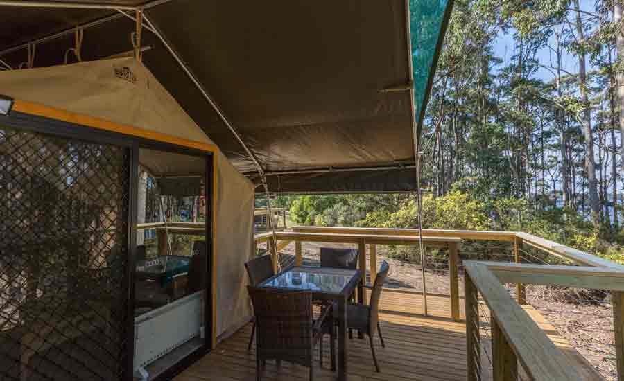 safari tent deck caravan park