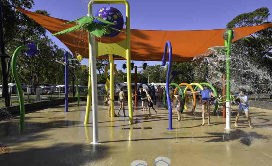 splash pad fun for kids caravan park